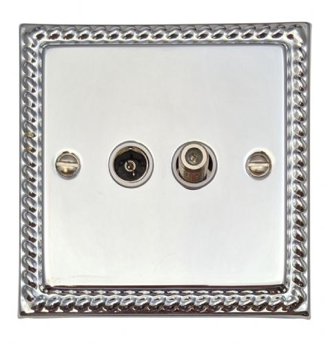 G&H MC38W Monarch Roped Polished Chrome 1 Gang TV Coax & Satellite Socket Point